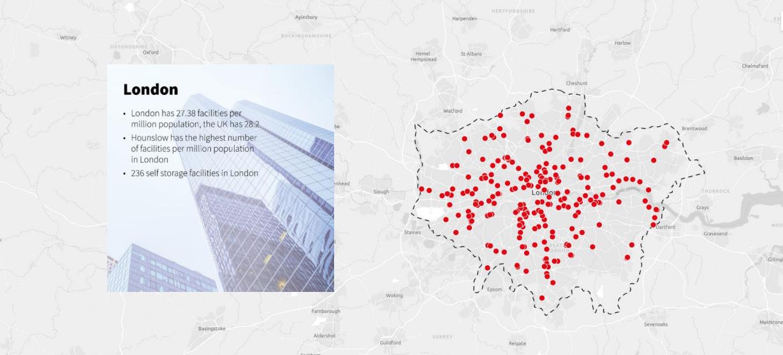Карта распределения складов индивидуального хранения в Лондоне