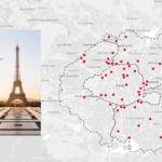 Карта распределения складов индивидуального хранения в Париже