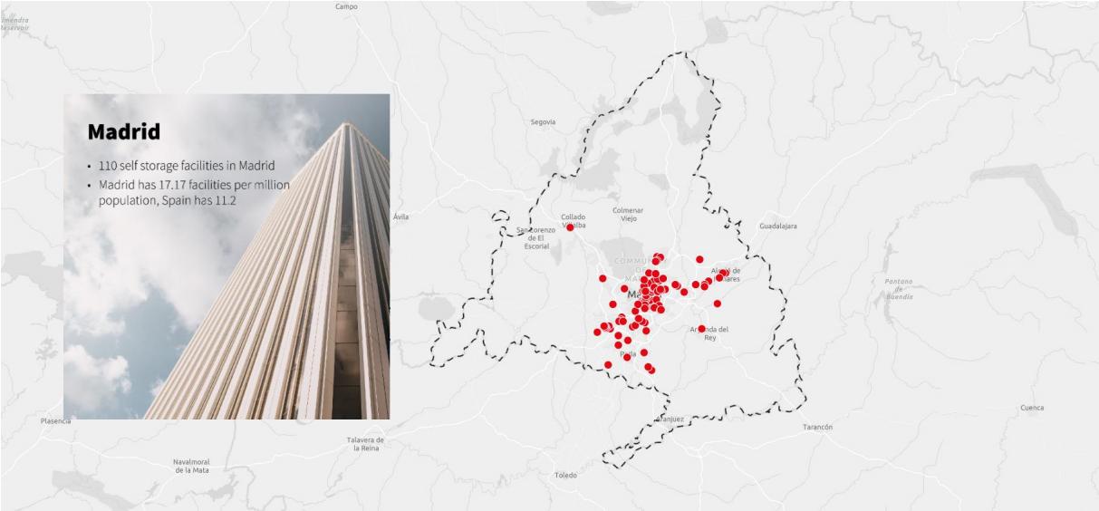 Карта распределения складов индивидуального хранения в Мадриде