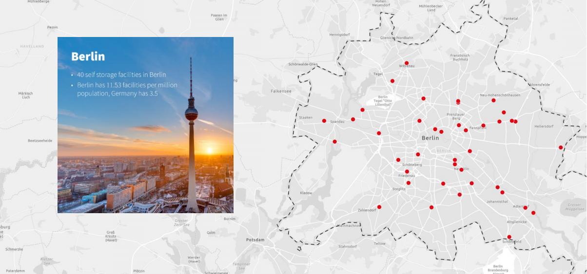 Карта распределения складов индивидуального хранения в Берлине