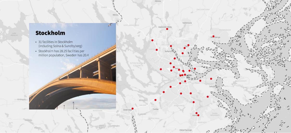 Карта распределения складов индивидуального хранения в Стокгольме